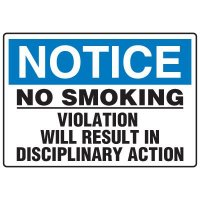 No Smoking Signs - Notice No Smoking Violation Will Result