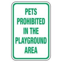Pets Prohibited - Playground Sign