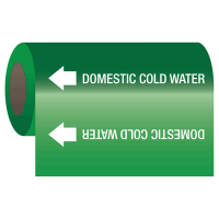 Self-Adhesive Pipe Markers-On-A-Roll - Domestic Cold Water