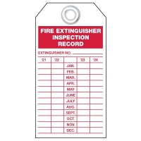 Plastic Fire Extinguisher Inspection Tags - 2021-2024