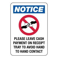 Please Leave Cash Payment on Receipt Tray Sign