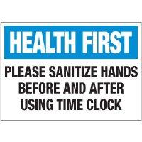 Please Sanitize Hands Label