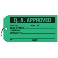 Production Control Tags - Q.A. Approved
