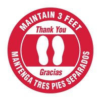Bilingual Floor Markers - Maintain 3 Feet - Red