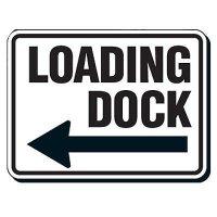 Reflective Parking Lot Signs - Loading Dock (Left Arrow)