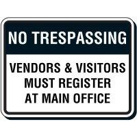 Reflective Parking Lot Signs - No Trespassing Vendors & Visitors