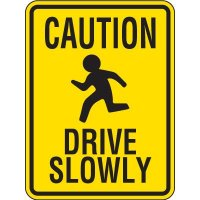 Reflective Caution Drive Slowly Sign With Graphic