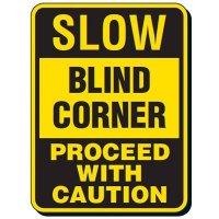 Reflective Traffic Reminder Signs - Slow Blind Corner