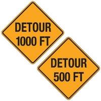 Reflective Warning Signs - Detour