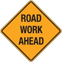 Reflective Warning Signs - Road Work Ahead