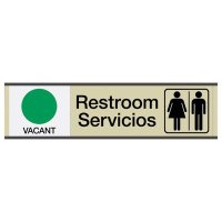 Restroom Vacant/Occupied - Bilingual Engraved Restroom Sliders