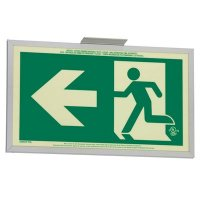 Running Man Graphic with Left Arrow - 2FC Glo Brite® Exit Signs, Double-Sided