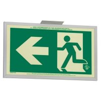 Running Man Graphic with Left Arrow - Glo Brite® Exit Signs, Double-Sided