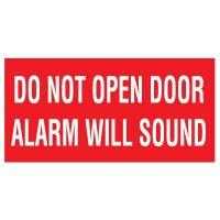 Adhesive Vinyl Fire Exit Signs - Do Not Open Door Alarm Will Sound