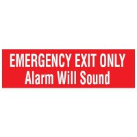 Adhesive Vinyl Fire Exit Signs - Emergency Exit Only Alarm Will Sound