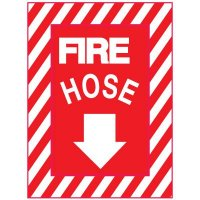 Adhesive Vinyl Fire Exit Signs - Fire Hose