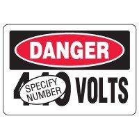 Semi-Custom Eco-Friendly Signs - Danger Volts