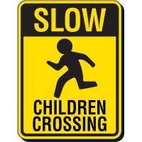 Reflective Pedestrian Crossing Signs - Slow Children Crossing