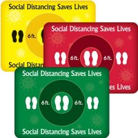 Temporary Floor Markers - Social Distancing Saves Lives - Rectangle