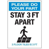 Stay 3 Ft Apart 3 Floor Tiles Labels