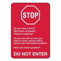 Stop Do Not Enter - COVID-19 Screening Questions Sign