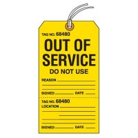 Tear-Off Jumbo Out Of Service Tags