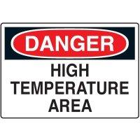 Temperature Warning Signs - Danger High Temperature Area