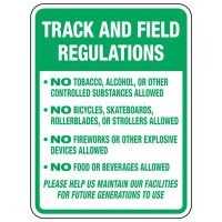 Track and Field Regulations - Athletic Facilities Signs