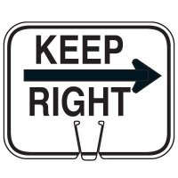 Traffic Cone Signs - Keep Right with Arrow Graphic