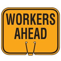 Traffic Cone Signs - Workers Ahead