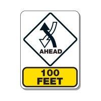 Traffic Pattern Sign - Left Hand Traffic Ahead 100 FT