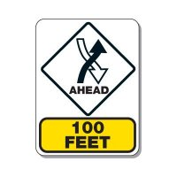 Traffic Pattern Sign - Right Hand Traffic Ahead 100 FT