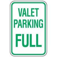 Visitor Parking Signs - Valet Parking Full