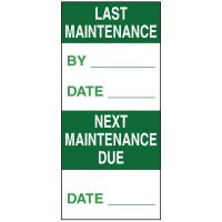 Write-On Action Labels - Last Maintenance