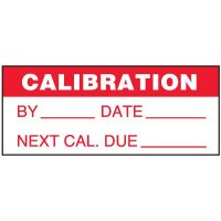 Write-On Status Roll Labels - Calibration by ___ Date ___ Next Cal Due ___ Instrument # ___