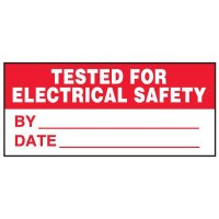 Write-On Status Roll Labels - Tested for Electical Safety by ___ Date ___ Next Test Due ___