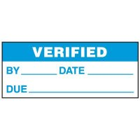 Write-On Status Roll Labels - Verified By ___ Date ___ Due ___