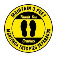 Bilingual Floor Markers - Maintain 3 Feet - Yellow
