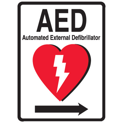 1-Way View AED Sign - (Includes Arrow Graphic)