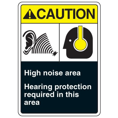 ANSI Multi-Message Safety Signs - Caution High Noise Area