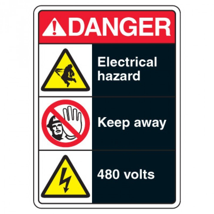 ANSI Multi-Message Safety Signs - Danger Electrical Hazard