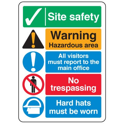 ANSI Multi-Message Safety Signs - Site Safety Warning Hazardous Area