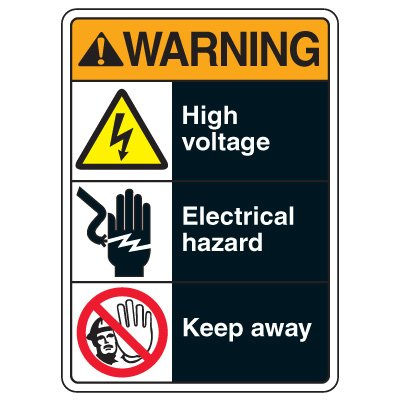 ANSI Multi-Message Safety Signs - Warning High Voltage