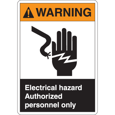ANSI Z535 Safety Labels - Warning Electrical Hazard Authorized Personnel Only