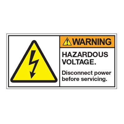 ANSI Z535 Safety Labels - Hazardous Voltage Disconnect Before Servicing