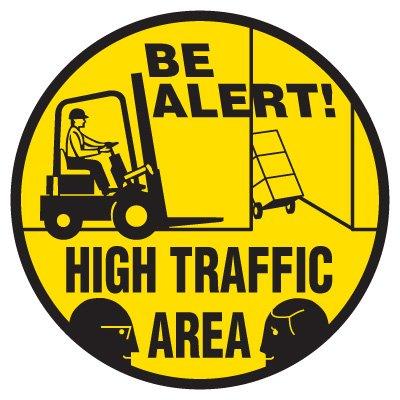 Anti-Slip Floor Markers - Be Alert! High Traffic Area