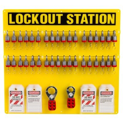 Brady Fully Equipped Yellow Lockout Station - Contains 78 Components inc. 36 Steel Locks (51196)