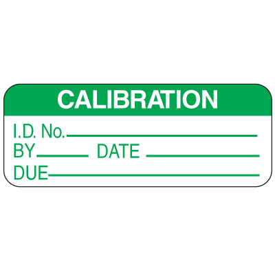 Calibration ID No. By Date Due Labels For Greasy Surfaces