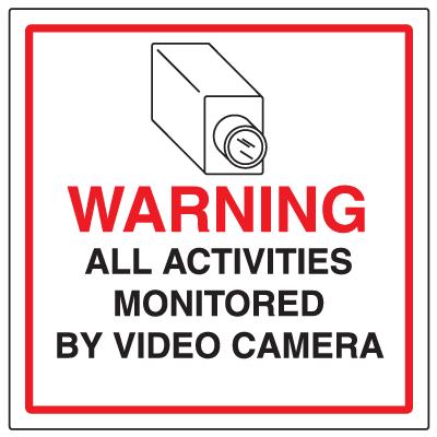 CCTV Warning Signs - Activities Monitored