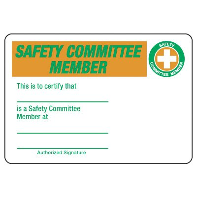 Safety Committee Member Wallet Card